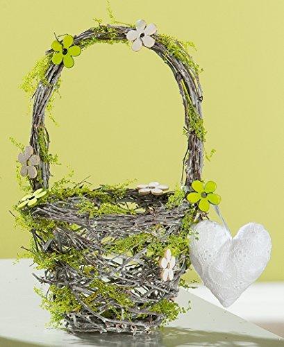 dekojohnson Corbeille décorative verte en bois naturel avec cœur et anse - 17 x 17 x 27 cm