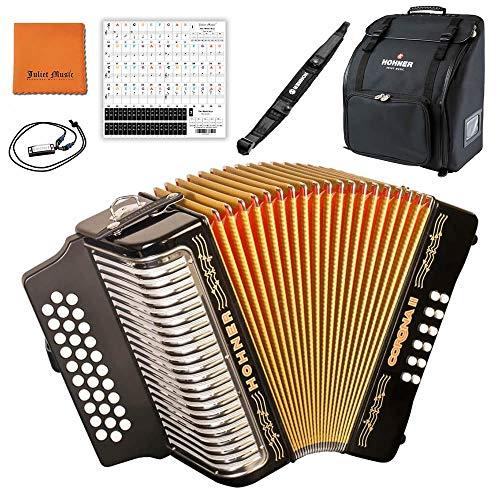 Hohner 3500GB Corona II G/C/F Diatonic Accordion - Black Bundle with Hohner Bag, Strap, Mini Harmonica, Juliet Music Polish Cloth & Piano Key Stickers