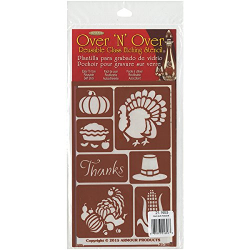Armour Products 21-1653 Over N Over Glass Etching Stencil, 5-Inch by 8-Inch, Giving Thanks