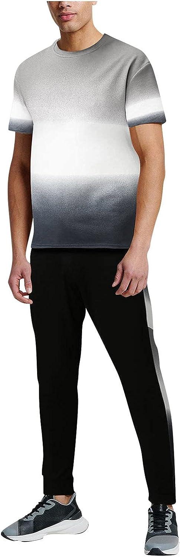CHENQ Men's Summer 2-Piece Beach Patchwork Short Sleeve T Shirts & Long Pants Sets