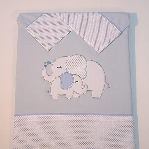 10XDIEZ Juego de sábanas cuna elefante azul   (Minicuna - 50x80 cm - Azul)
