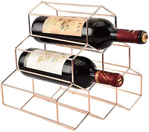 IAIZI 6 Botellas De Vino Estante del Metal del Panal del Estante del Vino del Hierro Labrado Vino Wine Rack Rack Inicio Accesorios Gabinete del Vino Decoración (Color : Rose Gold)