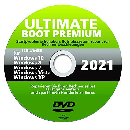 ULTIMATE BOOT REPARATUR BOOT ERSTE HILFE NOTFALL BOOT CD DVD NEU DATENRETTUNG FÜR WINDOWS 10 bis XP DVD