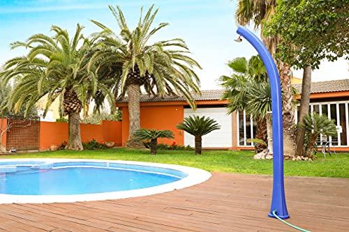 SIQUA Ducha Solar Azul de Exterior con Forma Curvada y Grifo lavapies. Fabricada en Polietileno de Alta Densidad. 2,16 m de Altura
