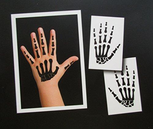 2 Temporäre Metallische Hand-Skelett Tattoos für Kinder in Schwarz