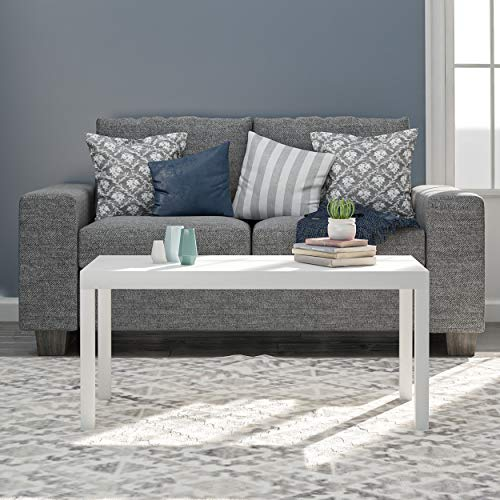 Ameriwood Home Parsons Modern Coffee Table, White