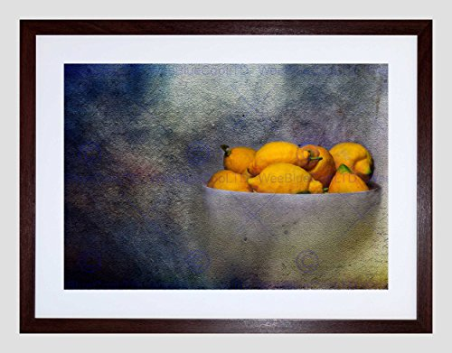 Wee Blauwe Coo Foto Samenstelling Bowl Fruit Citroenen Citrus Geel Voedsel Bitter Art Omlijst Muur Art Print