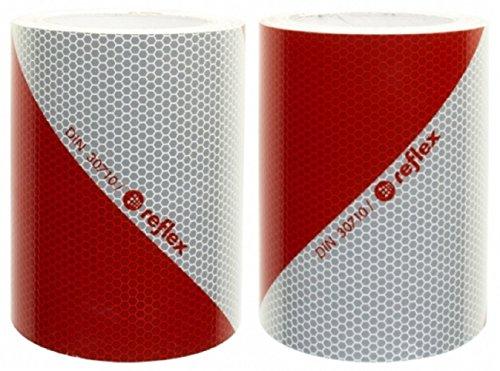 3M/Reflex Kfz Warnmarkierung rot weiß 823 Anwendungspaket 2 x 5mx141mm linksweisend und rechtsweisend DIN 30710