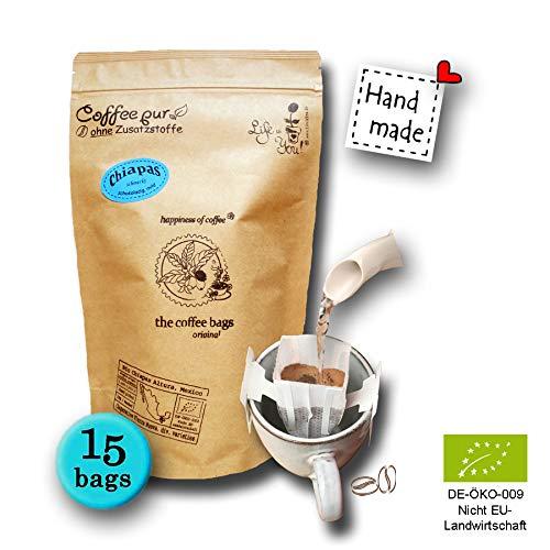 Life is You! Coffee Bags | (BIO) Kaffee Chiapas aus den Berghängen der Sierra Madre de Chiapas in Mexiko | 15 Coffee Bags (für Becher) | in verschließbarer Zipptüte - 100% Arabica - frisch & schonend handgerösteter, milder Filterkaffee