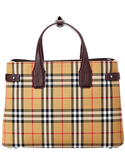 Burberry Medium Banner Vintage Check and Leather Tote- Deep Claret