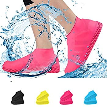 WaterproofShoe Covers Non-SlipWater Resistant Overshoes Silicone Rubber Rain Shoe Cover Protectors for Kids Men Women Small Pink