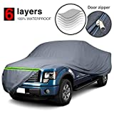 """KAKIT 6 Layers Truck Cover Waterproof All Weather Universal Fit with Door Zipper for Pickup Outdoor Indoor Length Up to 242"""""""