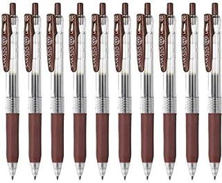 Zebra Sarasa Clip 0.5 Retractable Gel Ink Pen, Rubber Grip, 0.5mm, Brown Ink, Value Set of 10