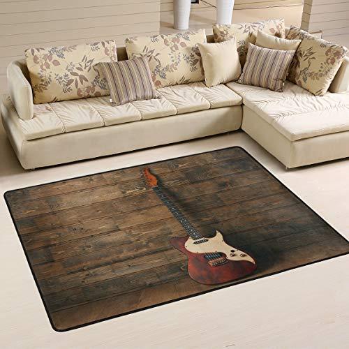 Mnsruu Alfombra de guitarra eléctrica sobre música de madera, para sala de estar, dormitorio, 91 cm x 61 cm