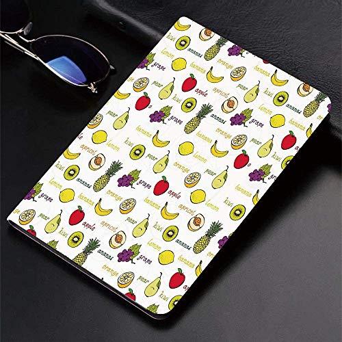 Hülle für iPad (24.638cm, Modell 2018/2017, 6./5. Generation) Ultra Slim Lightweight Smart Cover, Früchte, Kiwi Bananenpflaumen Zitrone Orange Birne Traube Aprikose Food Print Dekor, Smart Covers Auto