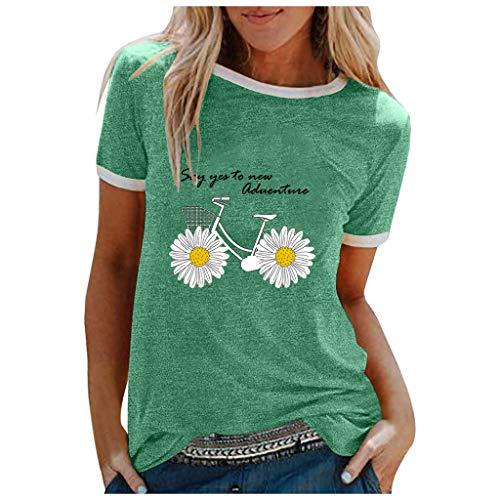 Blingko Bluse Kurzarm Damen Sommer Locker Elegant Blusenshirt Rundhals Casual Brief Muster Drucken Oversize Oberteile Tops T Shirt(Grün,L)