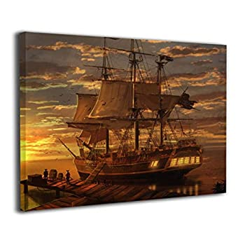 Amonee 16 x20  Canvas Wall Art Print Fantasy Ship Loading Departure Pirate Ship Framed Canvas Pictures Prints Contemporary Artwork Ready to Hang for Home Decoration Wall Decor