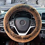 Car Steering Wheel Cover - Genuine Leather Heavy Duty Thick Elegant Anti-Slip15 Inch - Black&Red