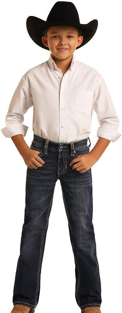 Rock and Roll Denim Boy's Reflex Regular Fit Boot Cut Jeans, Dark Vintage, 8 Regular