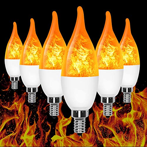 E12 Flame Bulb LED Candelabra Flame Bulbs, 1.2 Watt Warm White LED Chandelier Bulbs-Flame Light...
