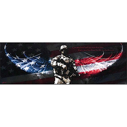 Dicksons Greater Love Hath No Man Soldier American Wings 6 x 18 Wood Wall Sign Plaque