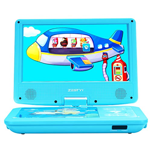 "ZESTYI 11"" Portable DVD Player for Kids with 9"" Swivel Screen, Car Headrest Mount Holder, Rechargeable Battery, Wall Charger, Car Charger, SD Card Slot, USB Port & Swivel Screen (Blue)"