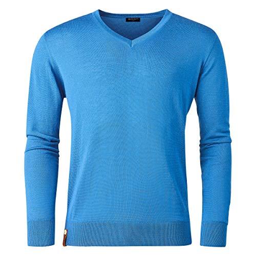 agon - gebreide trui voor heren, 100% merino-wol, extra fijn, V-hals, Total-Easy-Care