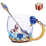 unbraned Flower Glass Tea Cups with Spoon Glass Coffee Mugs Enamel Handmade Unique Butterfly Rose for Women Valentine's Day Birthday Christmas New Year Decoration Wedding Gift (Rose-Blue-Short)