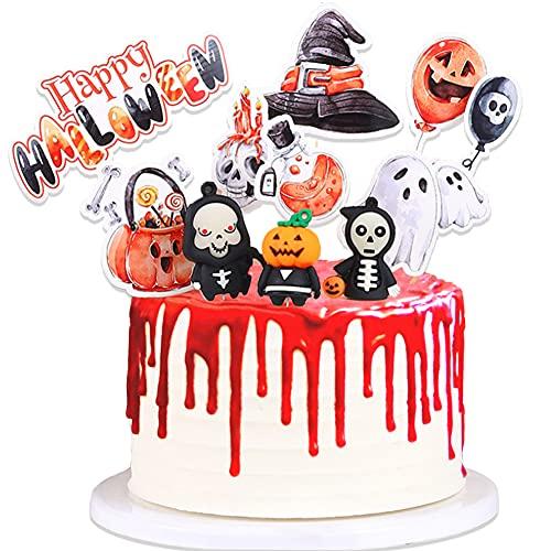 11 Piezas Adorno Para Tarta de Halloween, Cupcake Toppers, Decoracion Tarta Halloween Fiesta, Decoracion para Tartas Infantiles, Halloween Cake Topper, Queso Plato de Aperitivos Decoración