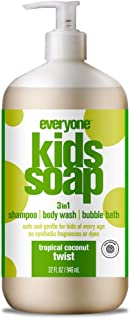 Everyone 3-in-1 Soap for Every Kid Safe, Gentle and Natural Shampoo, Body Wash, and Bubble Bath, Tropical Coconut Twist