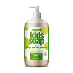 Everyone 3-in-1 Soap for Every Kid Safe, Gentle and Natural Shampoo, Body Wash, and Bubble Bath, Tro
