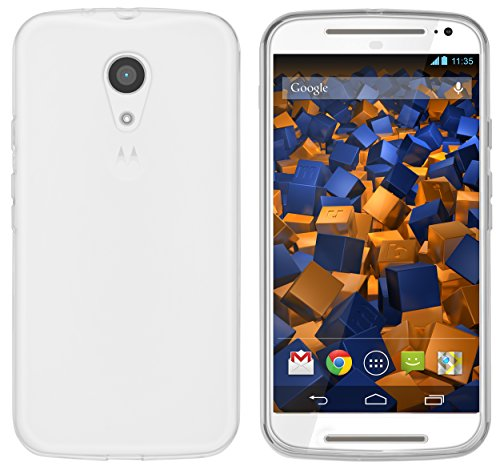 mumbi Hülle kompatibel mit Motorola Moto G2 Handy Case Handyhülle, transparent weiss