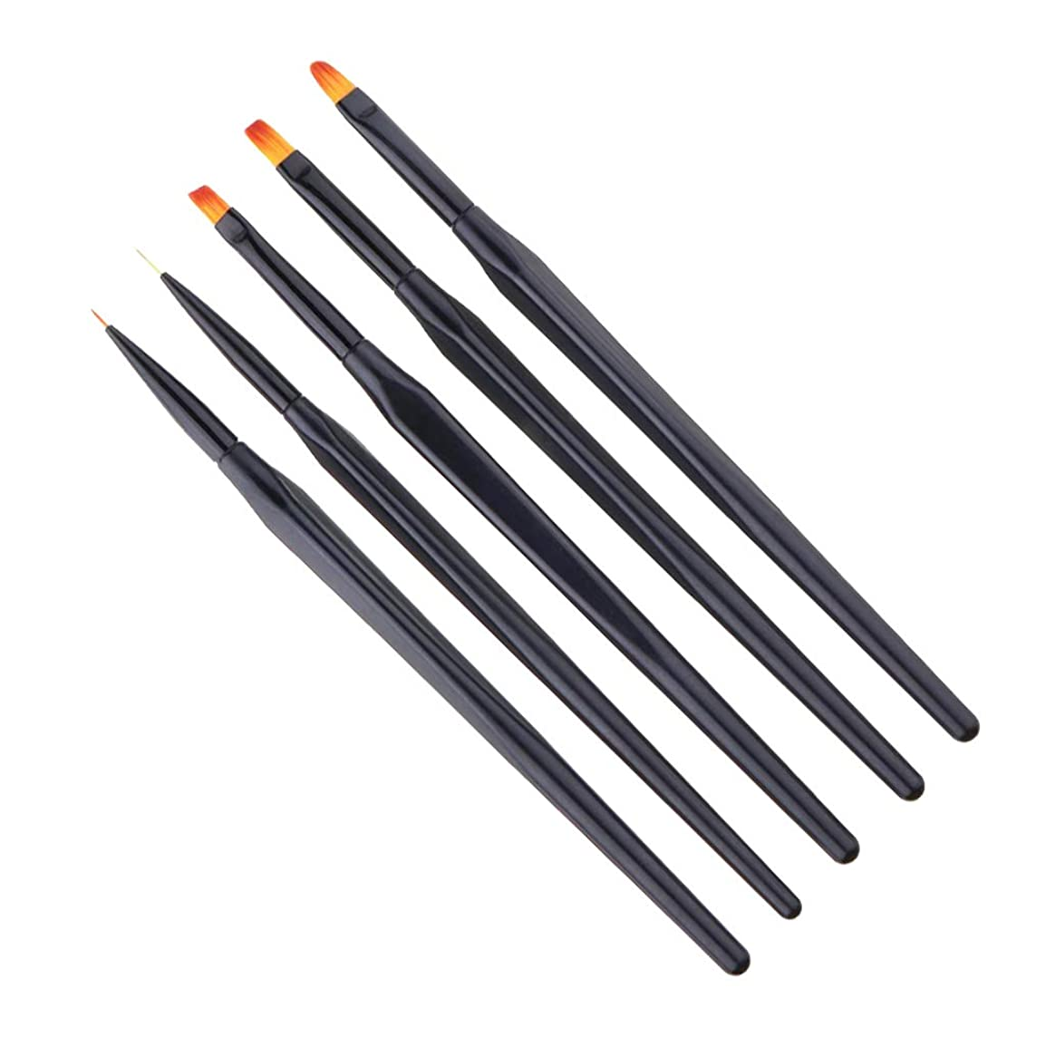 結晶ドール器用DYNWAVE ネイル ブラシ セット ネイル筆 ネイルアート ネイル塗装 合成繊維 プラスチック 全3種選択 - 5本UVジェルペン
