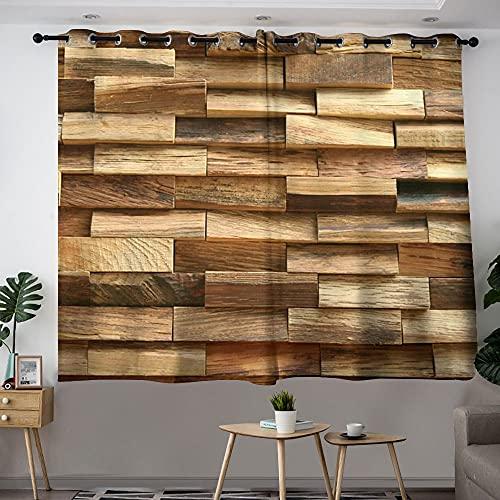Cortinas opacas para habitación de niñas, diseño de granja de madera original con aislamiento térmico con ojales en la parte superior de 72 x 84 cm