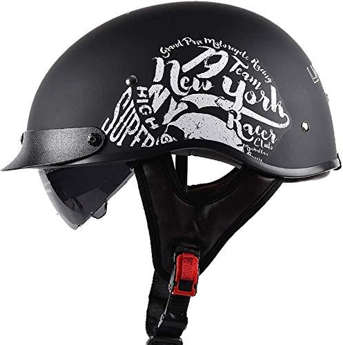 WRMIGN Gorra de béisbol Retro Modelado Medio Casco para Hombres y Mujeres, Street Biker Scooter Touring Moped ATV Casco para Motocicleta, Certificación ECE Casco de Cara Abierta Skull Cap Hat