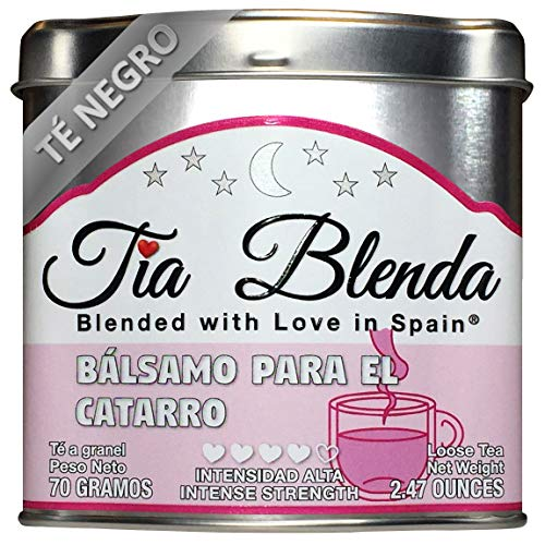 TIA BLENDA - BÁLSAMO PARA EL CATARRO (70 G) - Exquisito TÉ NEGRO Indio Assam BOP con EUCALIPTO. Té en hojas. 40-50 tazas. Presentación premium en lata. Loose Tea Caddy