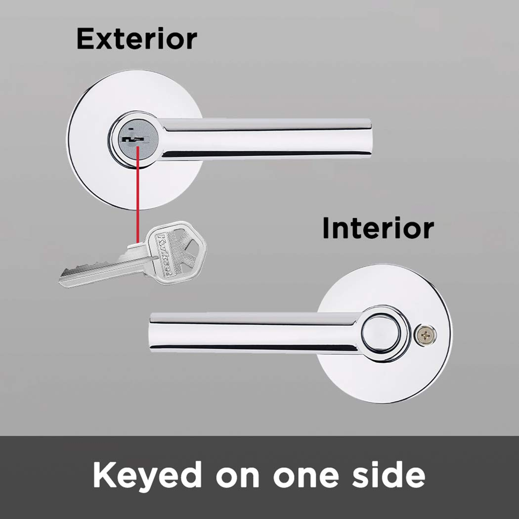 Kwikset 91560-003 Milan Round Keyed Entry Lever Featuring SmartKey in Polished Chrome