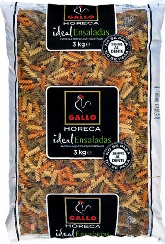 Pasta Seca Gallo Helices Vegetal Paquete 3000 Gr.
