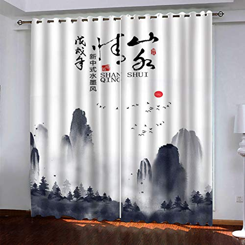 MMHJS 3D Watercolor Printed Fabric Curtains Thick Polyester Waterproof Insulation Curtains Hotel Bedroom Living Room Balcony Curtains (2 Pieces)