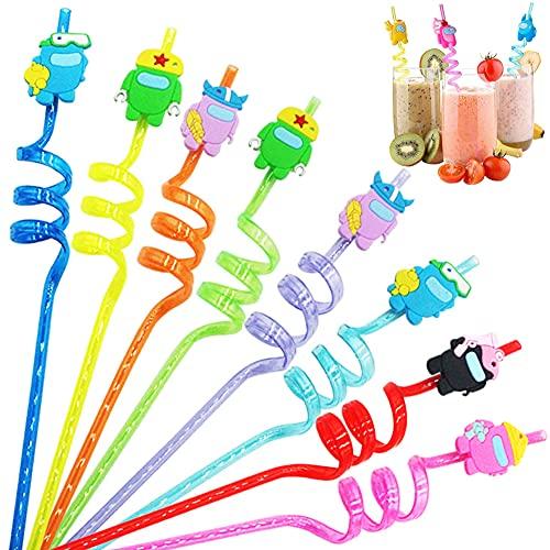 Cannucce Ricurve,BESTZY 16 Pezzi Cannucce Riutilizzabili in Plastica,Cannucce a Forma di Among Us,per Feste di Compleanno per Bambini, Decorazioni da Tavola per Feste di Famiglia