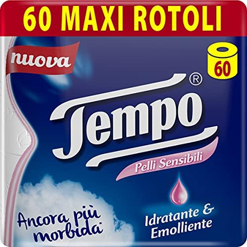 Tempo Carta Igienica per Pelli Sensibili, Morbida e Resistente, 60 Maxi Rotoli
