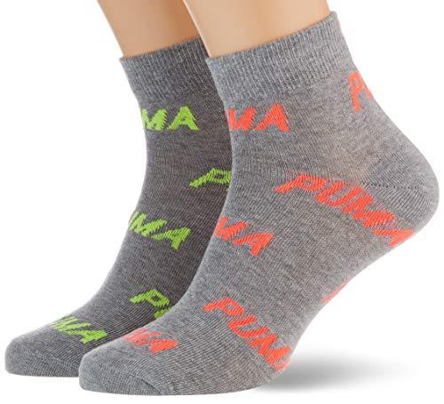 PUMA Unisex-Adult BWT Quarter (2 Pack) Socks, neon pink, 39/42