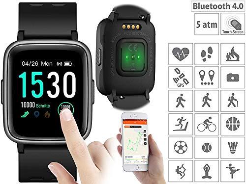 Newgen Medicals Smart Uhren: Fitness-Uhr, Touch-Screen & Herzfrequenz-Anzeige, Bluetooth, 5 ATM (Fitnessarmband mit Herzfrequenz)
