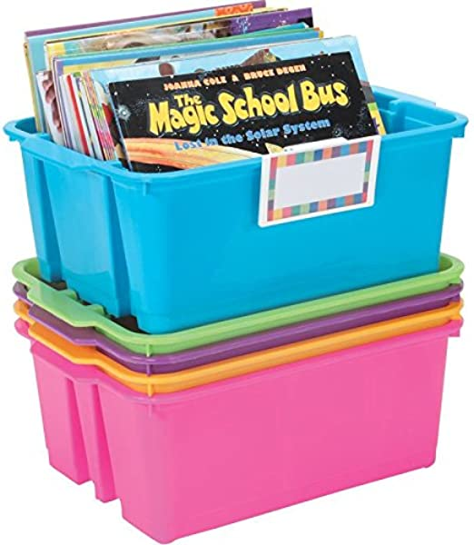 Really Good Stuff Stackable Plastic Book And Organizer Bins For Classroom Or Home Use Universal Label Holder Sturdy Plastic Baskets In Fun Neon Colors For Convenient Storage And More Set Of 5