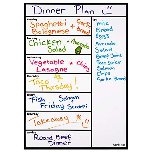 Scribble Magnetic Whiteboard, Refrigerator Calendar, Weekly Meal Planner