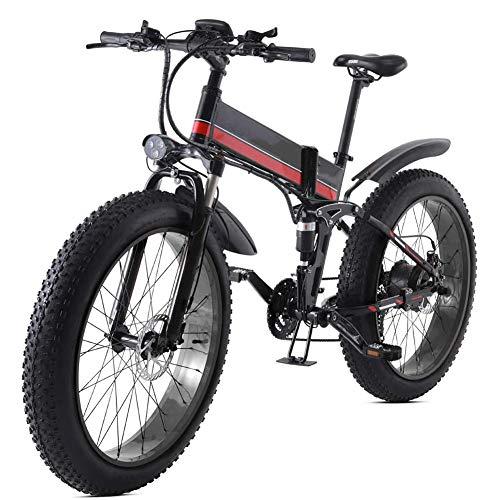 HWOEK Bicicleta Eléctrica Plegables, 26' Adulto Bicicleta Eléctrica de Viaje Nieve/Montaña 4.0 Neumáticos Gruesos con Asiento Trasero1000W Motor sin Escobillas,Black Red
