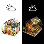 Rolife Dollhouse DIY Miniature Room Kit-Handmade Green House-Home Decoration-Miniature Model to Build-Christmas Birthday… 9 【Exquisite Mini House and Eco-Friendly Materials】Our diy mini doll house is very well made, using a miniature scale of about 1:24. All pieces are in seperate bags and a colourful step by step instruction book is included, which is a joy to read and very clear.The materials in the kit are eco-friendly, have no burrs.The paint is odorless and can also be easily washed out by water 【DIY Model Kits and A Handmade Toy】This wood model kits will make you fall in love with arts and crafts and become fulfilled. Inside the furniture suite are easy to stitching, Even if you are a beginner, follow the steps to do it will not be too hard. You can give yourself a plan, spend two hours a day to assemble, stick to it, not only develop good habits, but also make a surprise toy house 【Be Patience and Feel Amazing】To build it, patience is the ultimate key to success.It can be assembled with family, friends and lovers to experience the pleasure of hands-on.A sense of accomplishment will come when it is finished.You can redecorate it and add in your new creation.After turning on the light, it makes a comfy, cute room to look at once and awhile