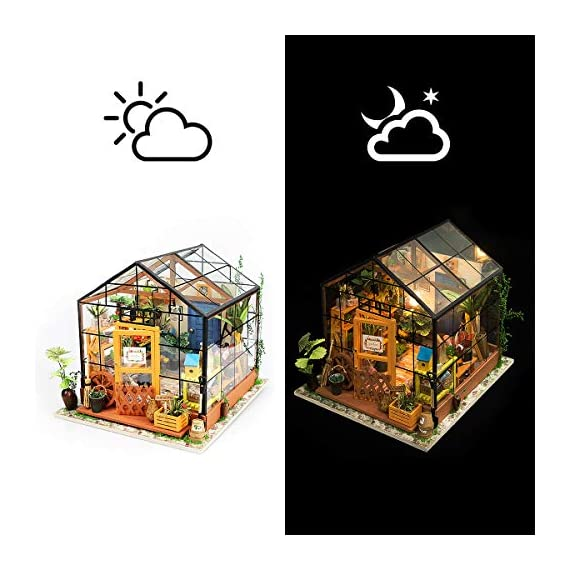 Rolife Dollhouse DIY Miniature Room Kit-Handmade Green House-Home Decoration-Miniature Model to Build-Christmas Birthday… 3 【Exquisite Mini House and Eco-Friendly Materials】Our diy mini doll house is very well made, using a miniature scale of about 1:24. All pieces are in seperate bags and a colourful step by step instruction book is included, which is a joy to read and very clear.The materials in the kit are eco-friendly, have no burrs.The paint is odorless and can also be easily washed out by water 【DIY Model Kits and A Handmade Toy】This wood model kits will make you fall in love with arts and crafts and become fulfilled. Inside the furniture suite are easy to stitching, Even if you are a beginner, follow the steps to do it will not be too hard. You can give yourself a plan, spend two hours a day to assemble, stick to it, not only develop good habits, but also make a surprise toy house 【Be Patience and Feel Amazing】To build it, patience is the ultimate key to success.It can be assembled with family, friends and lovers to experience the pleasure of hands-on.A sense of accomplishment will come when it is finished.You can redecorate it and add in your new creation.After turning on the light, it makes a comfy, cute room to look at once and awhile
