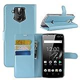 HualuBro OUKITEL K10 Hülle, Premium PU Leder Leather Wallet HandyHülle Tasche Schutzhülle Flip Hülle Cover mit Karten Slot für Oukitel K10 Smartphone (Blau)