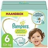 Pampers - Protección Premium - Pañales Tamaño 6 (13 + kg) - Paquete de 1 mes (x120 pañales)